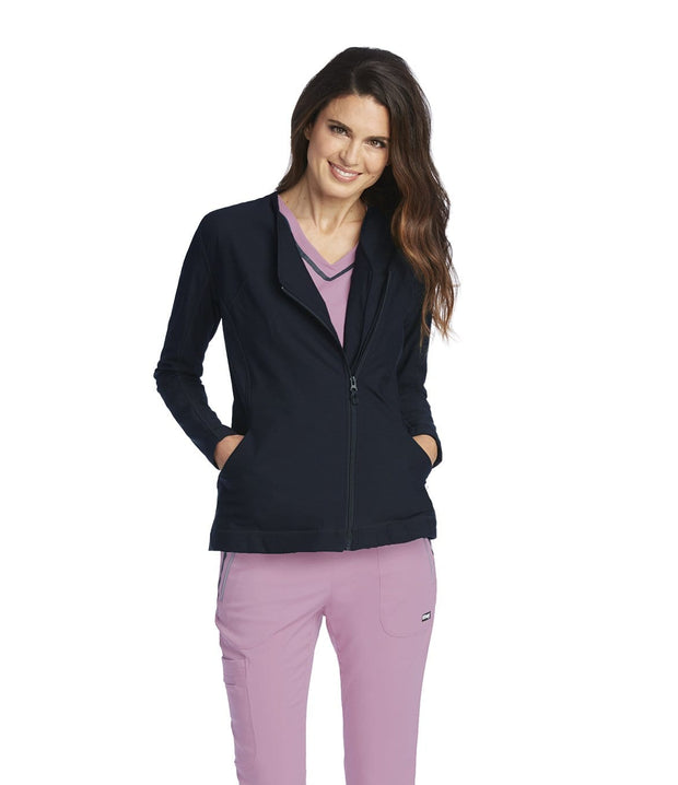 Greys Anatomy Impact Women's 2 Pocket Asymmetric Zip Jacket - 7445X - ScrubHaven