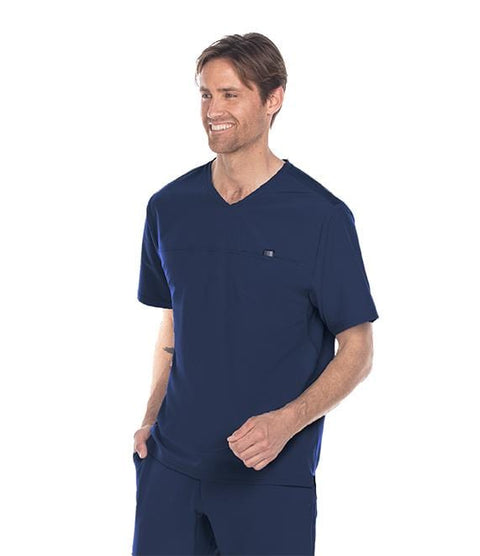 Barco Wellness Men's 1 Pocket V-Neck Hi Lo With Yoke Top - BWT010 - ScrubHaven