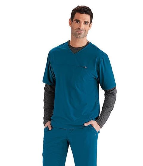 Barco Wellness Men's 1 Pocket V-Neck Hi Lo With Yoke Top - BWT010X - ScrubHaven
