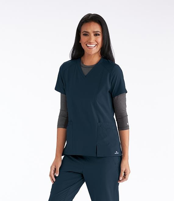 Barco Wellness Women's 4 Pocket V-Neck Contrast Shoulder Front Split - BWT012X - ScrubHaven