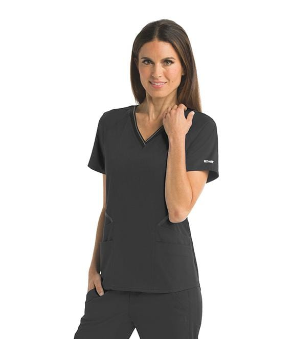 Greys Anatomy Impact Women's 4 Pocket Elastic V-Neck B-Tape Top - GIT007 - ScrubHaven