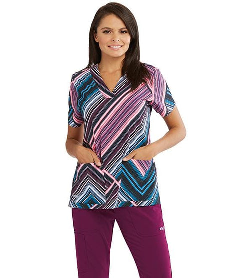 Greys Anatomy Signature Women's 3 Pocket Printed Lapover V-Neck - GNT030 - ScrubHaven