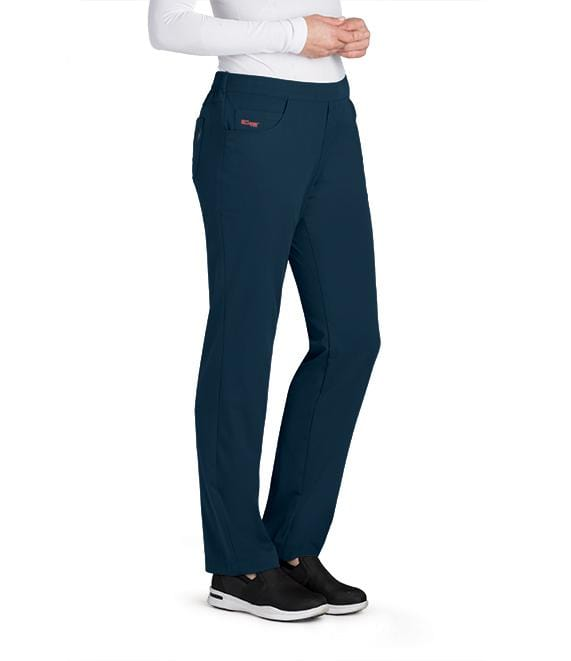 Greys Anatomy Women's 5 Pocket Flat Front Logo Back Pant - GRSP510T Tall - ScrubHaven