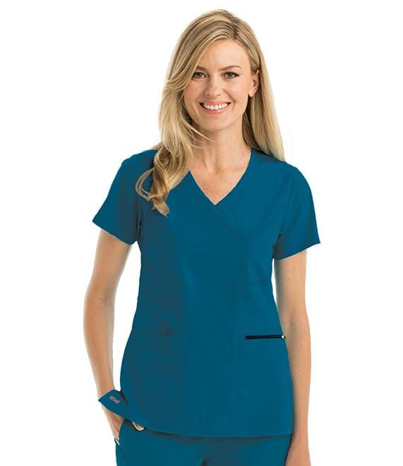 Greys Anatomy Women's 3 Pocket Surplice Princess Top - GRST001X - ScrubHaven
