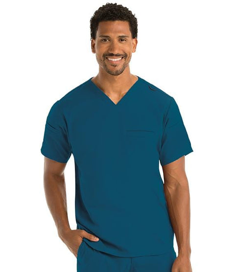 Greys Anatomy Men's 3 Pocket Sleeve Welt V-Neck Top - GRST009 - ScrubHaven