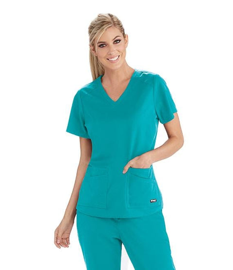 Greys Anatomy Women's 4 Pocket Front & Back Shoulder Yoke Top - GRST011 - ScrubHaven