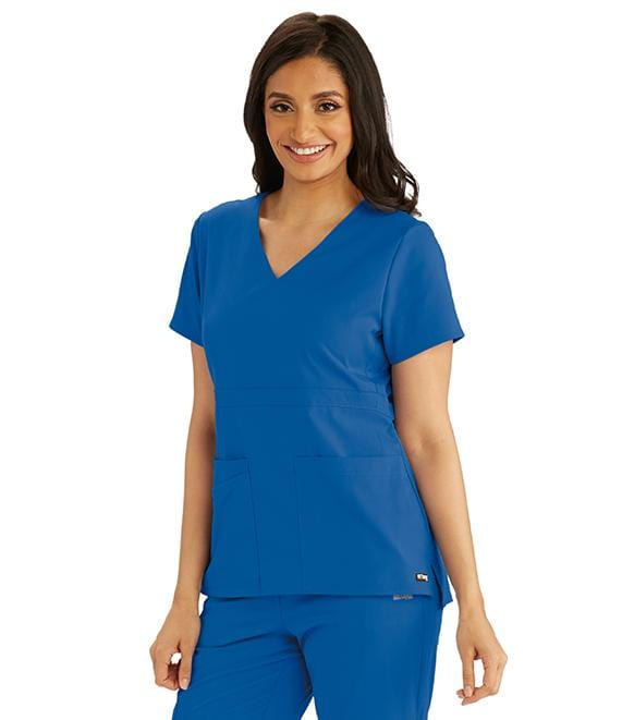 Greys Anatomy Women's 3 Pocket Empire Back Button Top - GRST027 - ScrubHaven