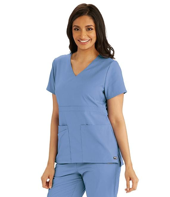 Greys Anatomy Women's 3 Pocket Empire Back Button Top - GRST027X - ScrubHaven