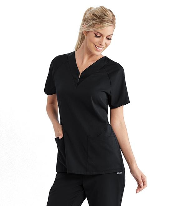 Greys Anatomy Active Women's 2 Pocket Zip Front Solid Jersey Raglan - GVST026X - ScrubHaven