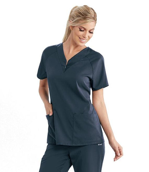 Greys Anatomy Active Women's 2 Pocket Zip Front Solid Jersey Raglan - GVST026 - ScrubHaven