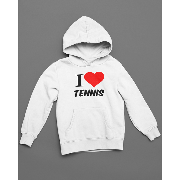 Sweat Shirt Capuche I LOVE TENNIS Blanc
