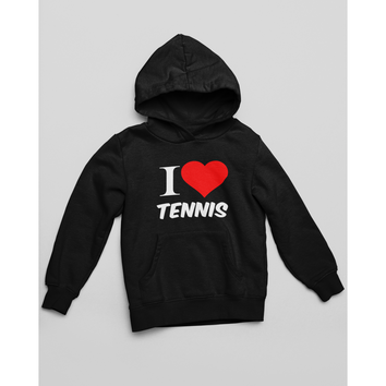 Sweat Shirt Capuche I LOVE TENNIS Noir