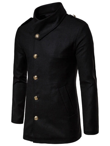 Single Breasted Solid Woolen Coat