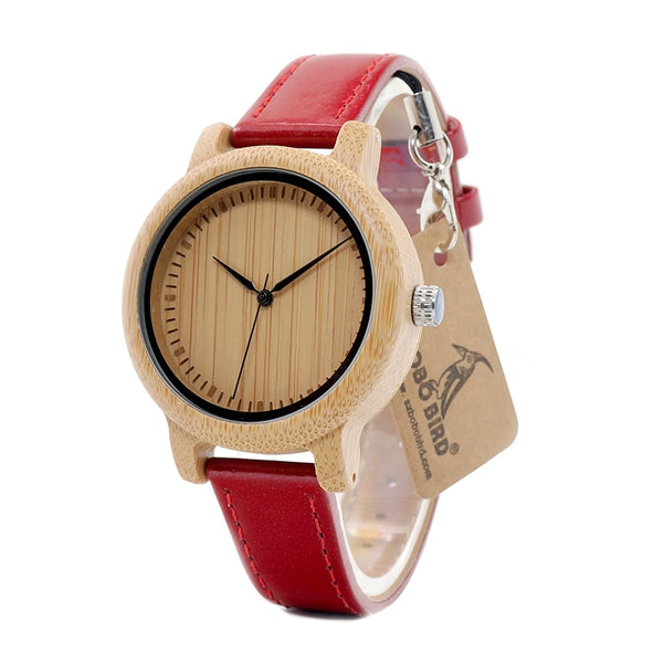 BOBO BIRD WJ09 Simple Style Bamboo Women Watch Bamboo Dial Genuine Red PU Leather Band Quartz Watches