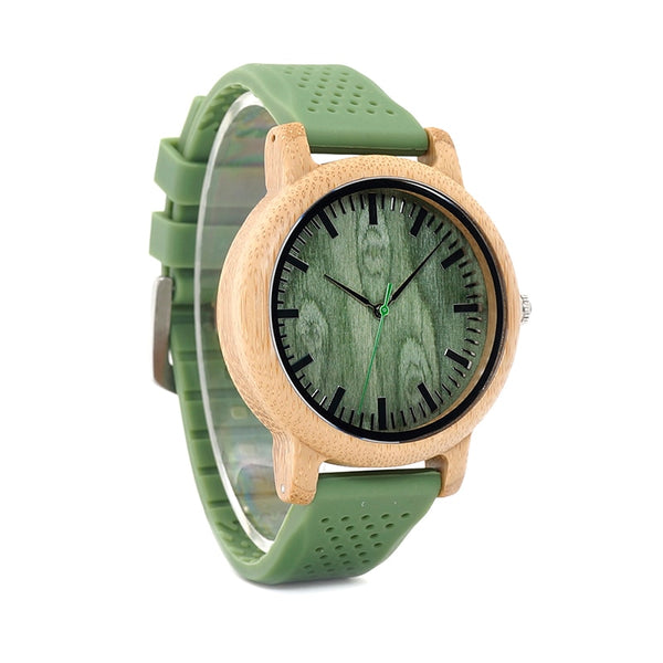 BOBO BIRD L B06 Silicone Strap Bamboo Watches for Men Women Simple Style Wood Dial Face Quartz Watch