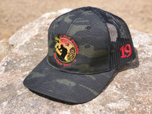 Load image into Gallery viewer, H1.7.  CAMO Print Snap Back EMF Logo Hat