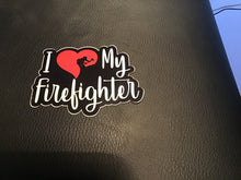 Load image into Gallery viewer, S4. I Love my Firefighter Sticker in Pink/Red
