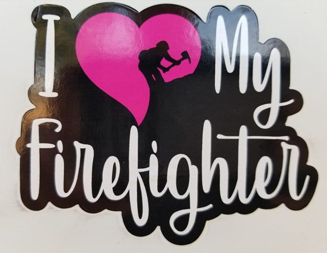 S4. I Love my Firefighter Sticker in Pink/Red