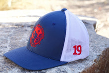 Load image into Gallery viewer, EMF Red, white, and blue Trucker Flex Fit Hat