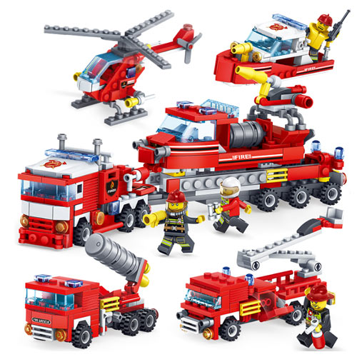 4 in 1 City Fire Fighting Toys (Fire Engine, Helicopters)