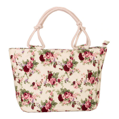 Flower Floral Printing Folding Big Size Handbag Tote for Ladies