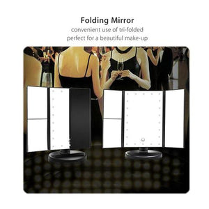 Folding LED Makeup Mirror with Lights and Zoom