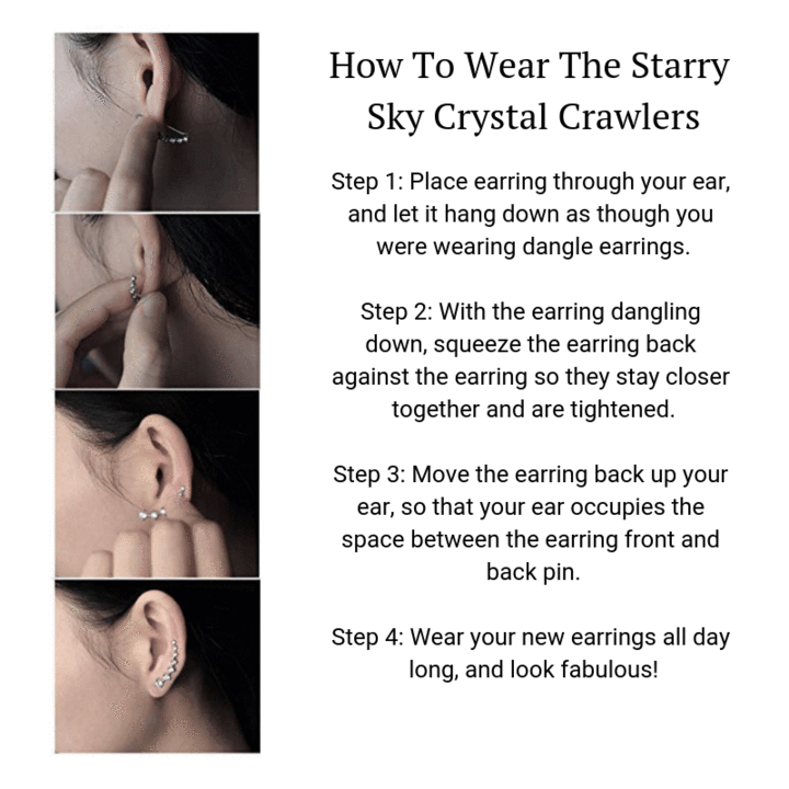 Starry Sky Crystal Crawler Earrings