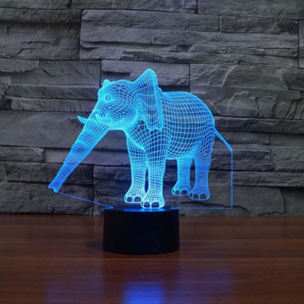 3D Hologram Elephant LED Lamp