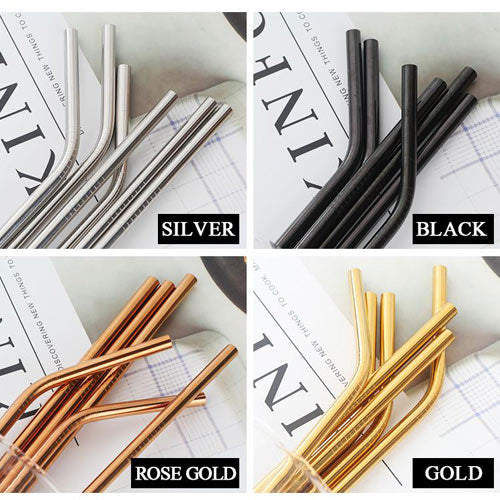 4pcs Set Reusable Stainless Steel Drinking Straws +1 Cleaning Brush