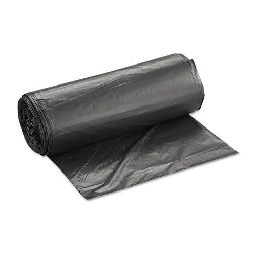 Inteplast High-Density Can Liners, 60gal, 38 x 60, 22mic, Black, 25/roll, 6 rolls/case