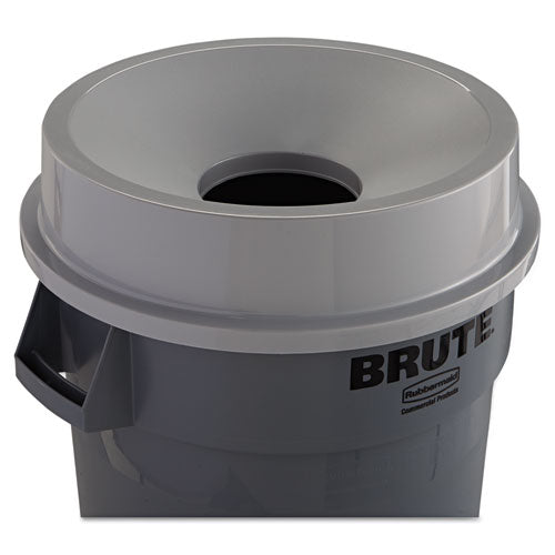 Round Brute Funnel Top Receptacle, 22 3/8 x 5, Gray