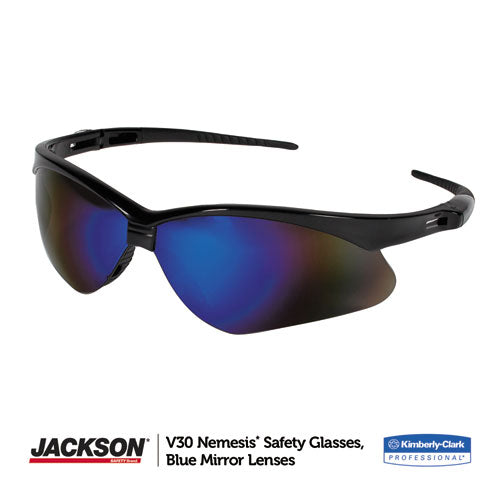 NEMESIS SAFETY GLASSES, BLUE MIRROR LENSES