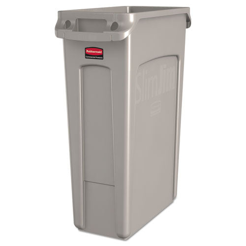 Slim Jim Receptacle w/Venting Channels, Rectangular, Plastic, 23gal, Beige