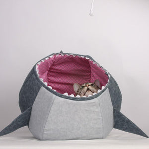 Great White Shark Cat Ball Cat Bed