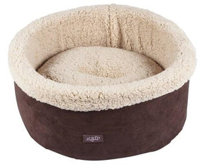 ALL FOR PAWS CAT BED LAMBSWOOL CURL AND CUDDLE BROWN