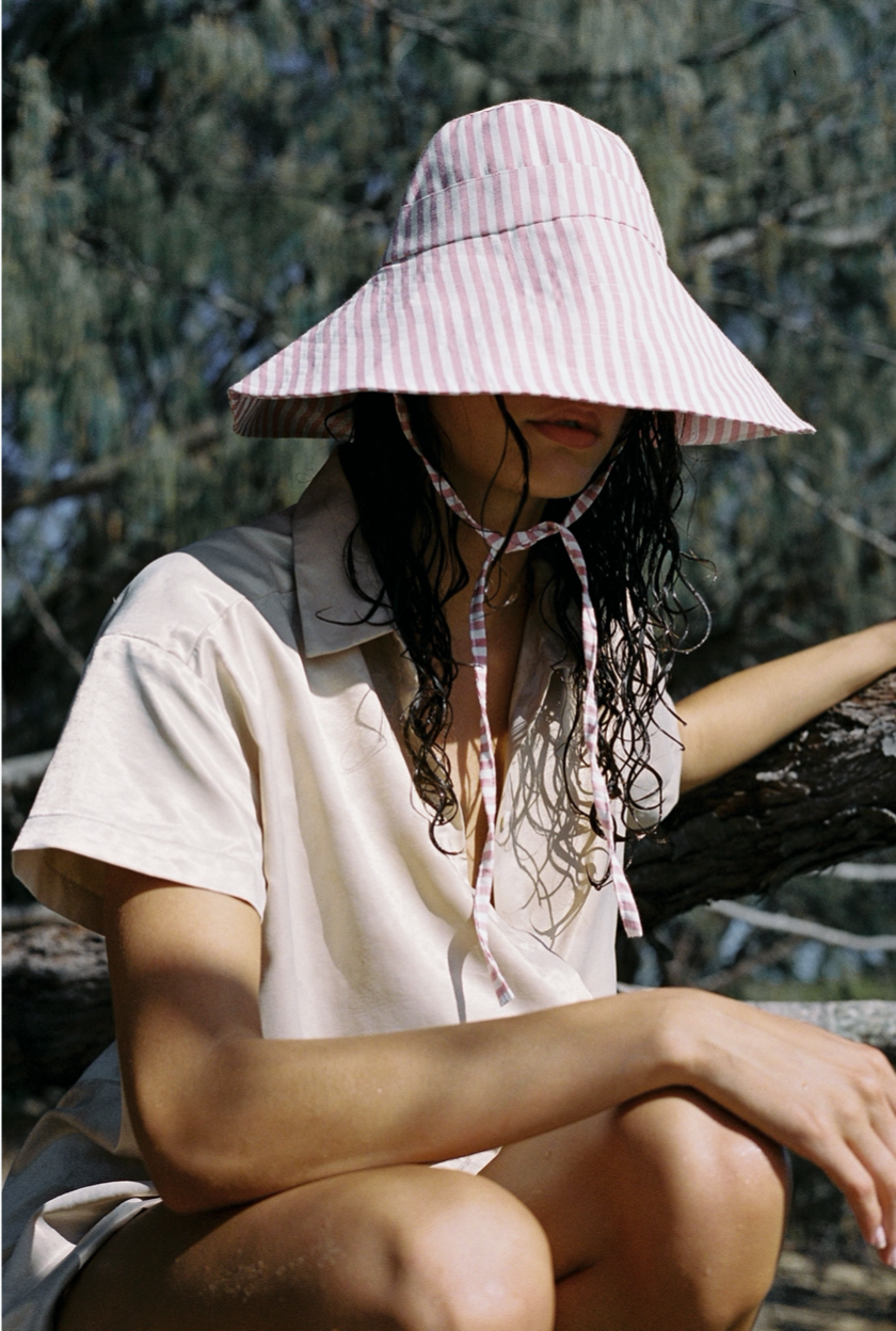 Nonna Hat, Limited Edition Dusty Pink Stripe