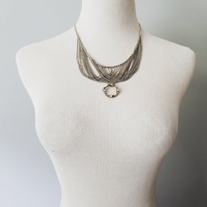 Vintage Layered Sterling + Antique Brooch Necklace