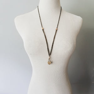 Mixed 1800s Watch Chain + Heart Lock Necklace