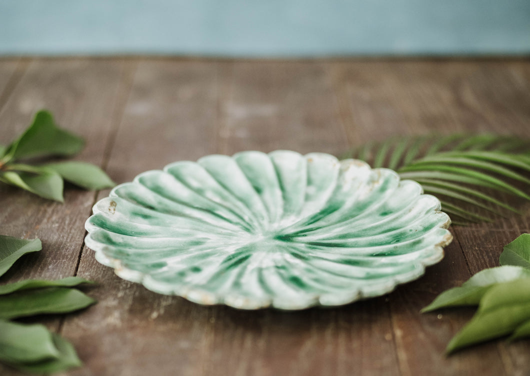 Green Floral Plate - Old Grace Gathering Co.