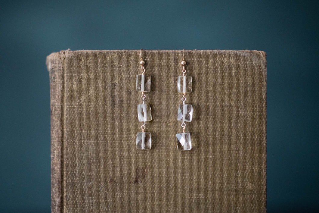 Faceted Quartz + Gold Filled Earrings - Old Grace Gathering Co.