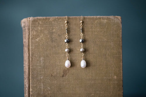Pearl, Pyrite + Gold Filled Earrings - Old Grace Gathering Co.