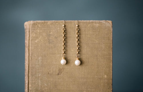 Antique Chain, Vintage Glass Pearl + Gold Filled Earrings - Old Grace Gathering Co.
