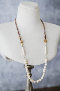 Bone + Pearl Necklace - Old Grace Gathering Co.
