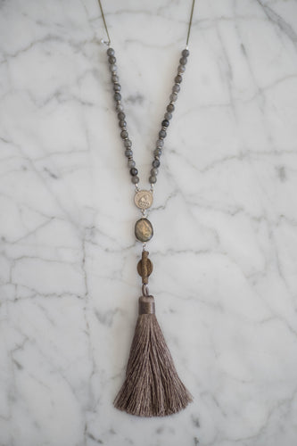 Labradorite Tassel Drop Necklace - Old Grace Gathering Co.