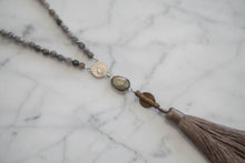 Load image into Gallery viewer, Labradorite Tassel Drop Necklace - Old Grace Gathering Co.