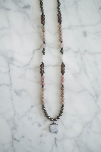 Gemstone + Leather Necklace - Old Grace Gathering Co.