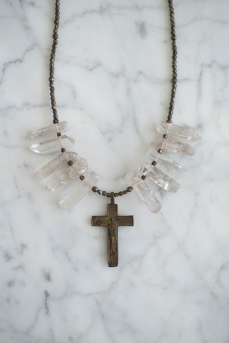 Crystal Quartz + Cross Necklace - Old Grace Gathering Co.