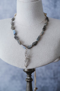 Labradorite + Vintage Rhinestone Necklace - Old Grace Gathering Co.