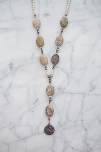 Fossilized Coral Drop Necklace - Old Grace Gathering Co.