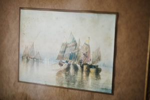 Antique Henri Dele Coeuillerie Sailboat Watercolor Painting